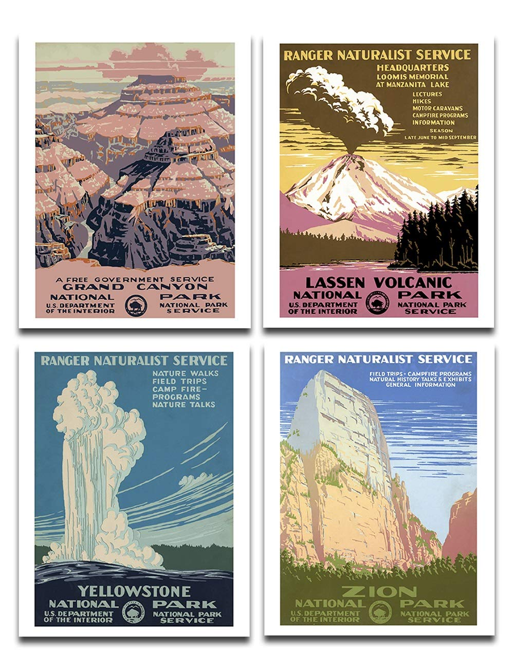 National Parks - Set of 4 11x14 Unframed Art Prints - Great Gift and Decor for Hikers, Campers and Home Under $20