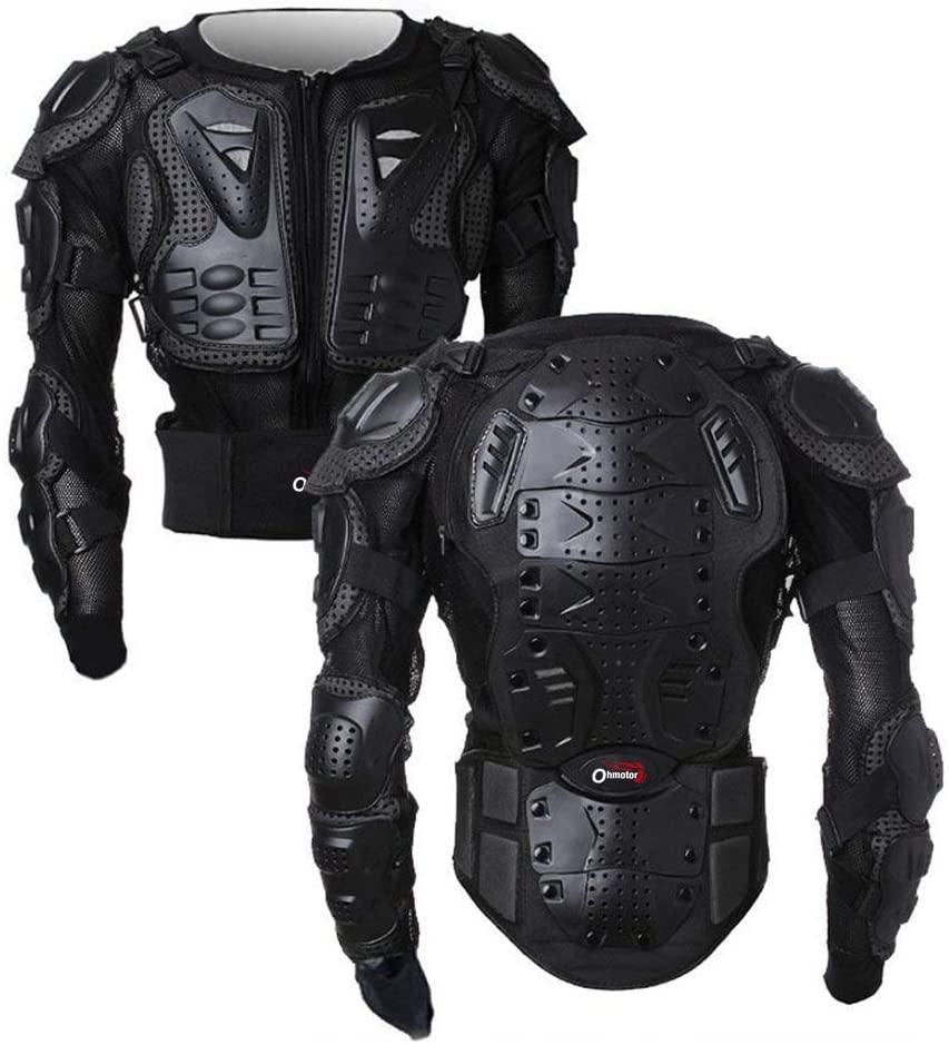 OHMOTOR Motorcycle Motorbike Full Body Armor Protector Pro Street Motocross ATV Guard Shirt Jacket with Back Protection (Black, XL)