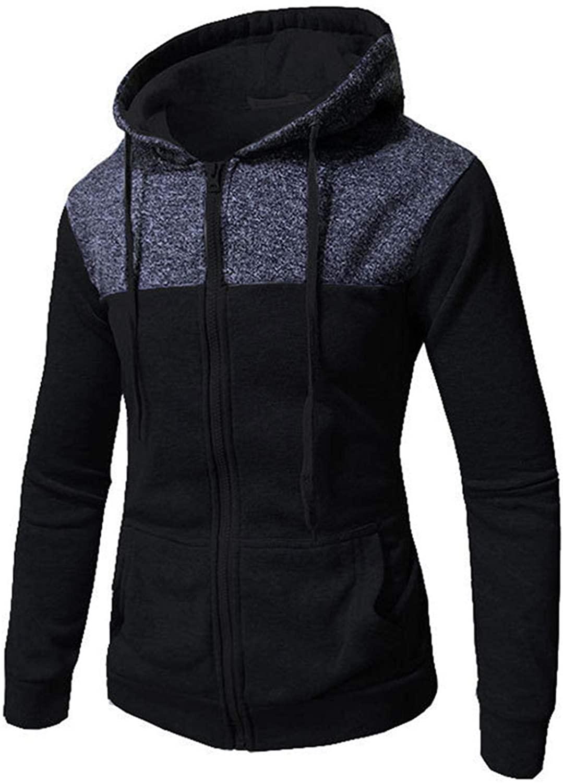 Soluo Men's Raglan Long Sleeve Fleece Casuall Full-Zip Up Hoodie Jacket Outwear Pullover