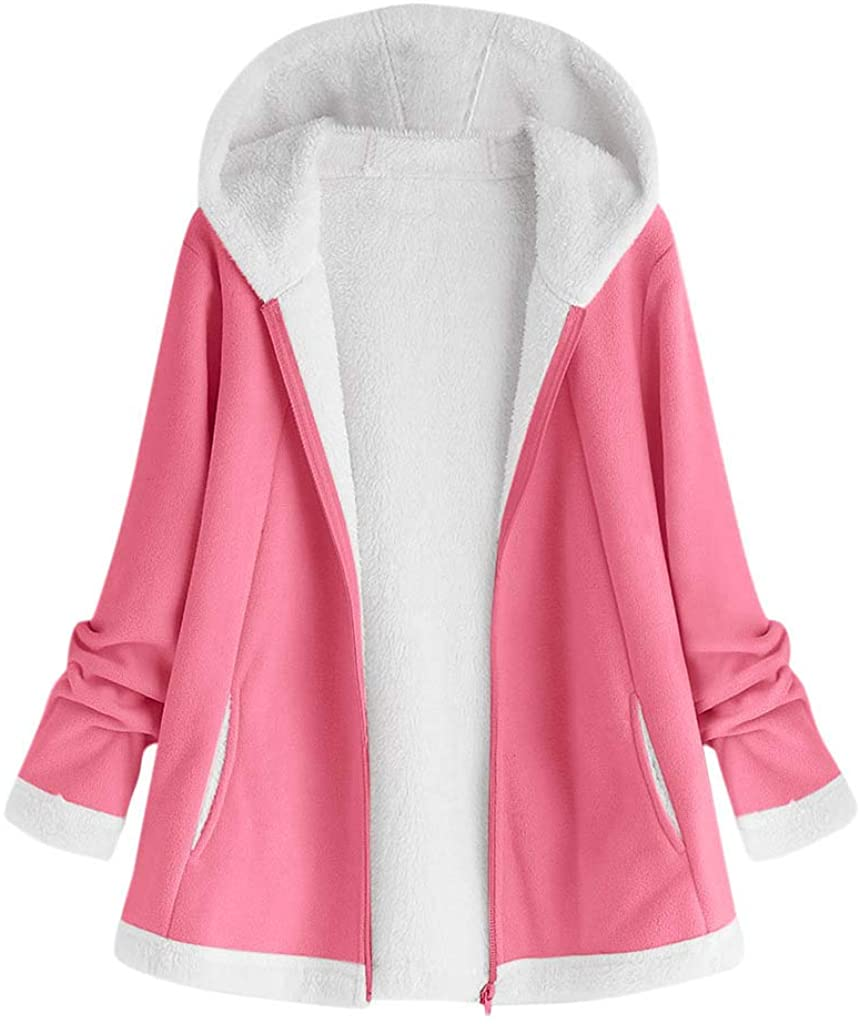 Adeliber Women's Fashion Winter Solid Color Pocket Zip Long Sleeve Plush Hooded Jacket