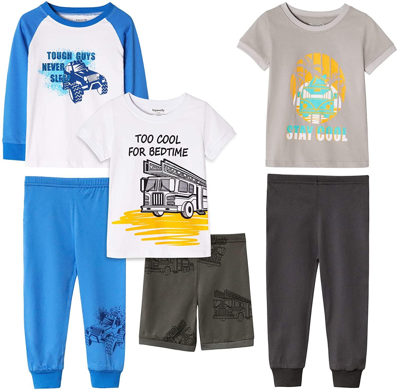 Boys' 6-Piece Snug-Fit Cotton Pajama Set Sleepwear
