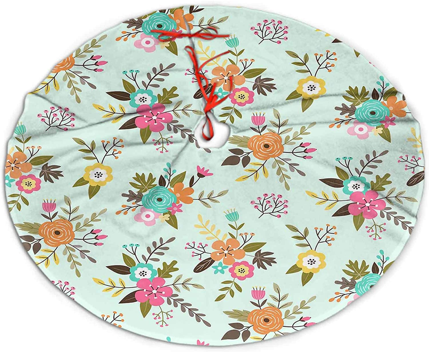 SoSung Christmas Tree Skirt Fabric Floral Pattern Cute Colorful Bouquets of Flowers for Christmas Tree Decorations 30