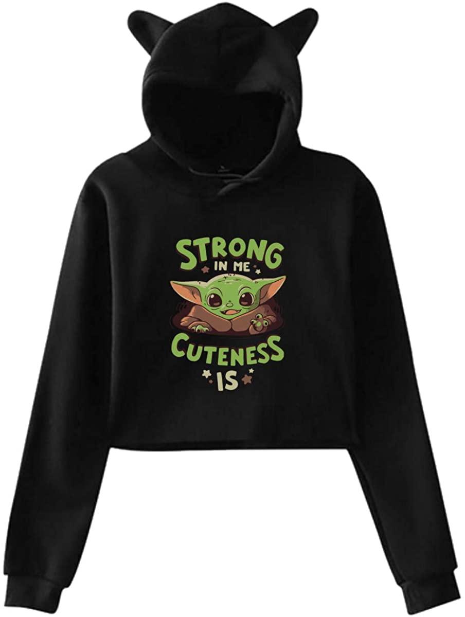 Cute Baby Alien Hoodie Strong in Me Cuteness is Cat Ear Hoodie Pullover Long Sleeve Hoodies Sweatshirts