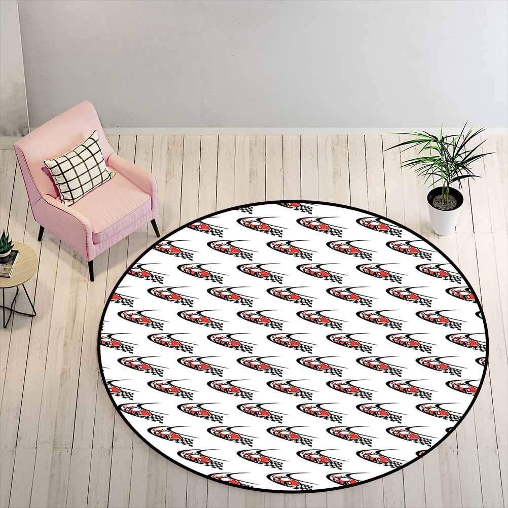 Area Rugs Cars Dining Room Rugs for Under Table Speeding Fast Red Race Car on a Formula Rally Near The Finishing Line Wining, 2 ft Diameter, Scarlet Black White
