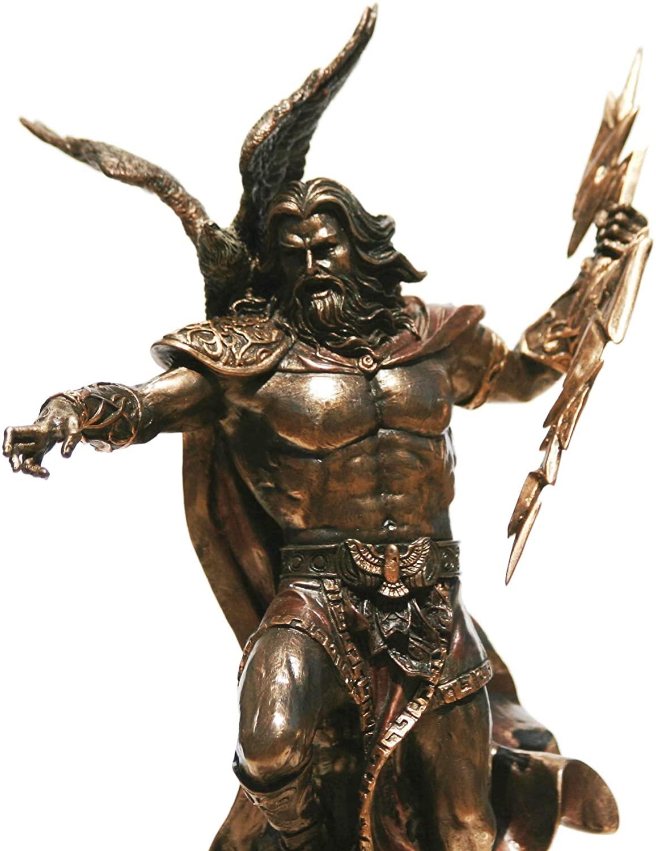 VERONESE Greek King God Zeus Jupiter Thunder Statue Bronze Finish Sculpture 11.5