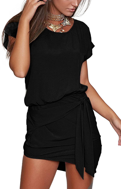 YOINS Women Mini Dress Summer Round Neck Short Sleeves Self-tie Waist Casual Dresses …