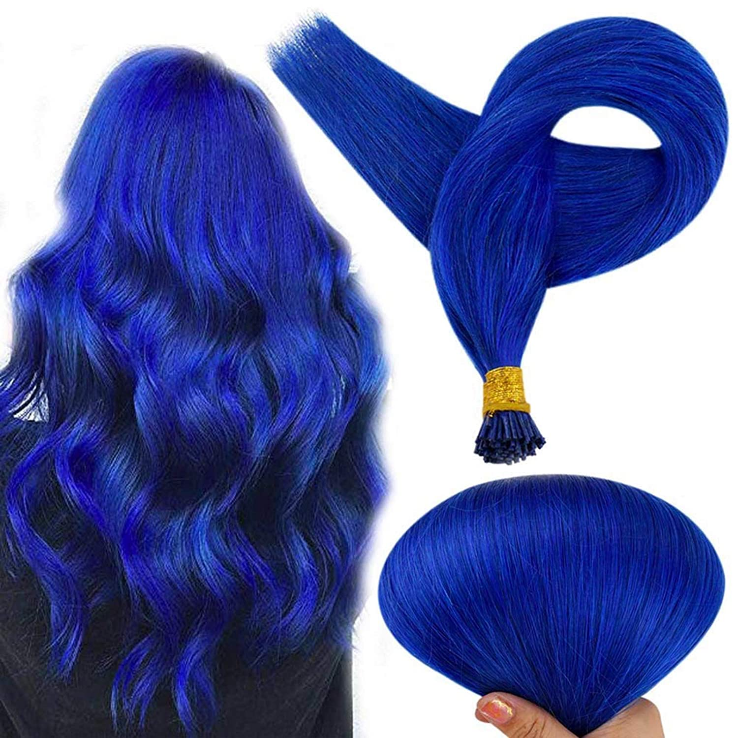 Full Shine Keratin Hair Extensions I Tip Hair Extensions 18 Inch Blue Remy I Tip Reheating Micro Beads Hair Extensions 40 Gram 50 Strands Fusion Remy Human Hair Extensions