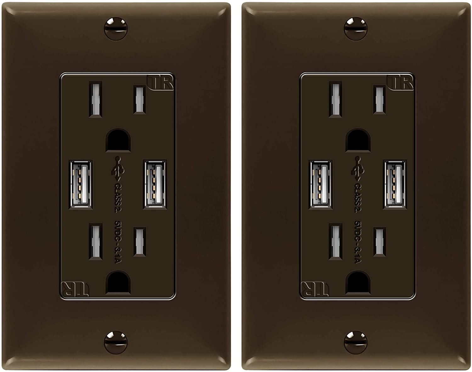 TOPGREENER 3.1A USB Wall Outlet Charger, 15A Tamper-Resistant Receptacles, Compatible with iPhone SE/11/XS/XR/X/8, Samsung Galaxy S20/S10/S9/Note, LG, HTC & More, TU2153A-BR-2PCS, Brown, 2 Pack