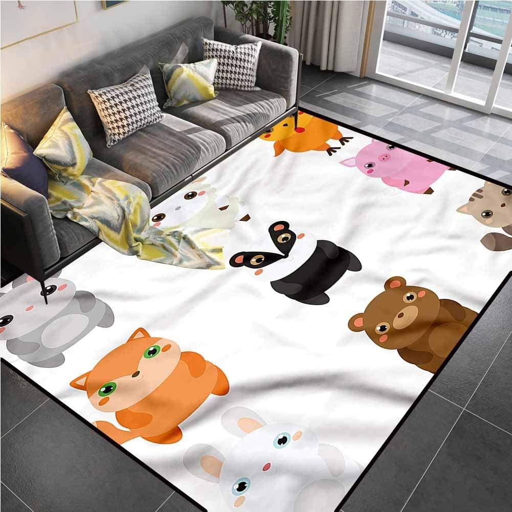 Area Rug Print Large Rug Mat Kawaii,Bunny Fox Sheep and Badger Carpet for Bedroom for Living Dining Dorm Playing Room Bedroom 6'6