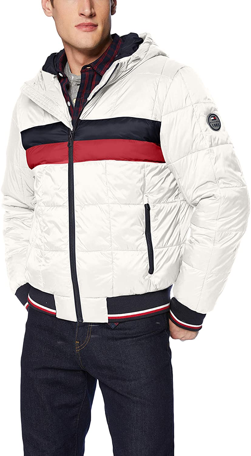 Tommy Hilfiger mens Quilted Colorblock Hoody Puffer Bomber Jacket