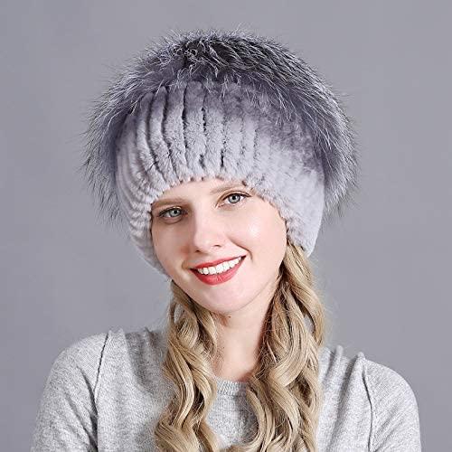 OG-Renstky Women's Winter Rabbit and Fox Hat Real Fur Hat Caps Winter Women Ski Cap