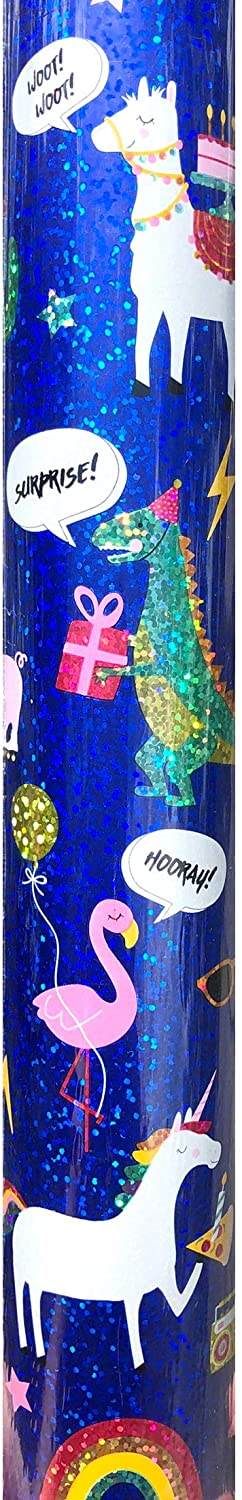 Creative Presence Birthday Whimsical Animals Continuous Gift Wrap Holographic Paper Roll, (Llama-Dinosaur-Pig-Unicorn-Flamingo), Blue