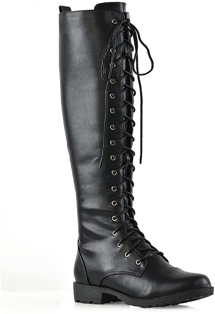 ESSEX GLAM Womens Knee High Lace Up Calf Biker Ladies Black Zip Punk Military Combat Army Boots