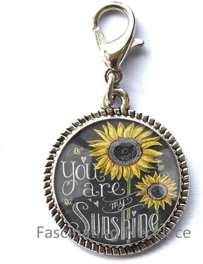 Fascinatingoi1l0ZipperilPulls Sunflower Zipper Pull Small Sunflower Jewelry Sunflower Charming Zipper Pull Silver Sunflower Charm Flower Zipper Pull Bridesmaid Zipper Pull Flower Girl Gift,AE0107
