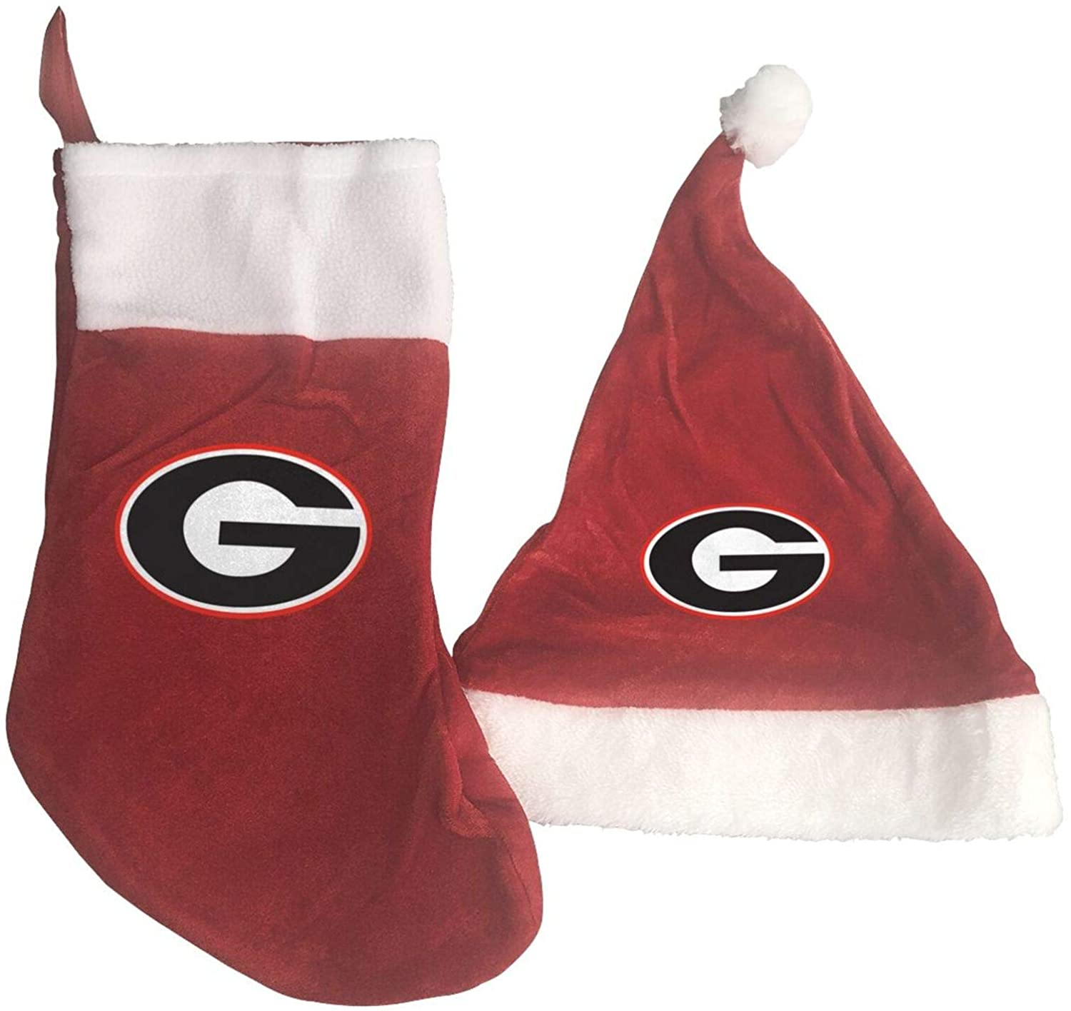 GLleaf University of Georgia Christmas Hat and Christmas Stocking Santa Socks Red Fireplace Hanging Stockings for Ornaments Family Holiday Xmas Party Decorations