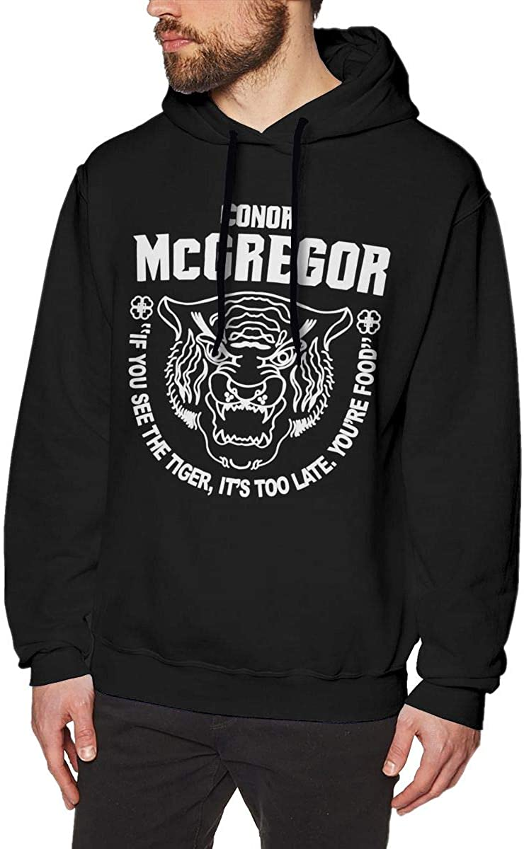 Maryat Conor-McGregor-UFC-202-Tiger Men's Casual Sweater Autumn Winter Warm Sweater Hoodie Hooded Sweatshirt Black