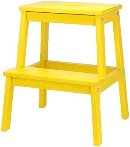 DFVV Foot Stool Children's Climbing Chair of Solid Wood 2-Step Household Mazar Shoe Bench Multifunction Adult Step Folding Ladder (Color : Yellow)