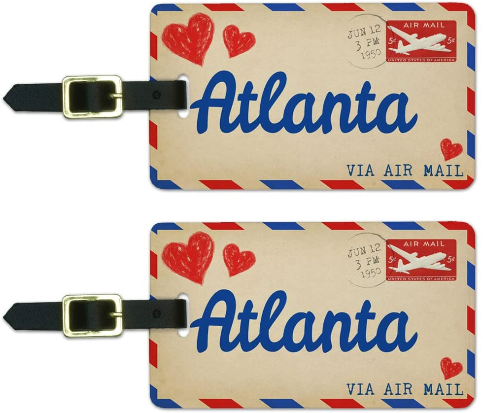 Graphics & More Air Mail Postcard Love for Atlanta Luggage Suitcase Carry-on Id Tags, White, One Size