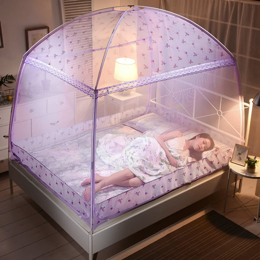 Printed mosquito net,Yurt nets Double bottomed Three-door bracket Home 1.2 m bed linen dormitories netting curtains Round fly screen insect protection repellent shield for home & travel-C Queen1