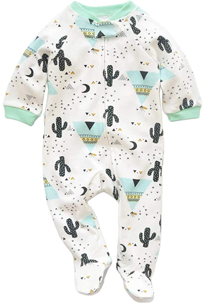 JunNeng Newborn Baby Cotton Footies Romper Infant Long Sleeve Animal Plant Printed Sleeper Pajamas One Piece