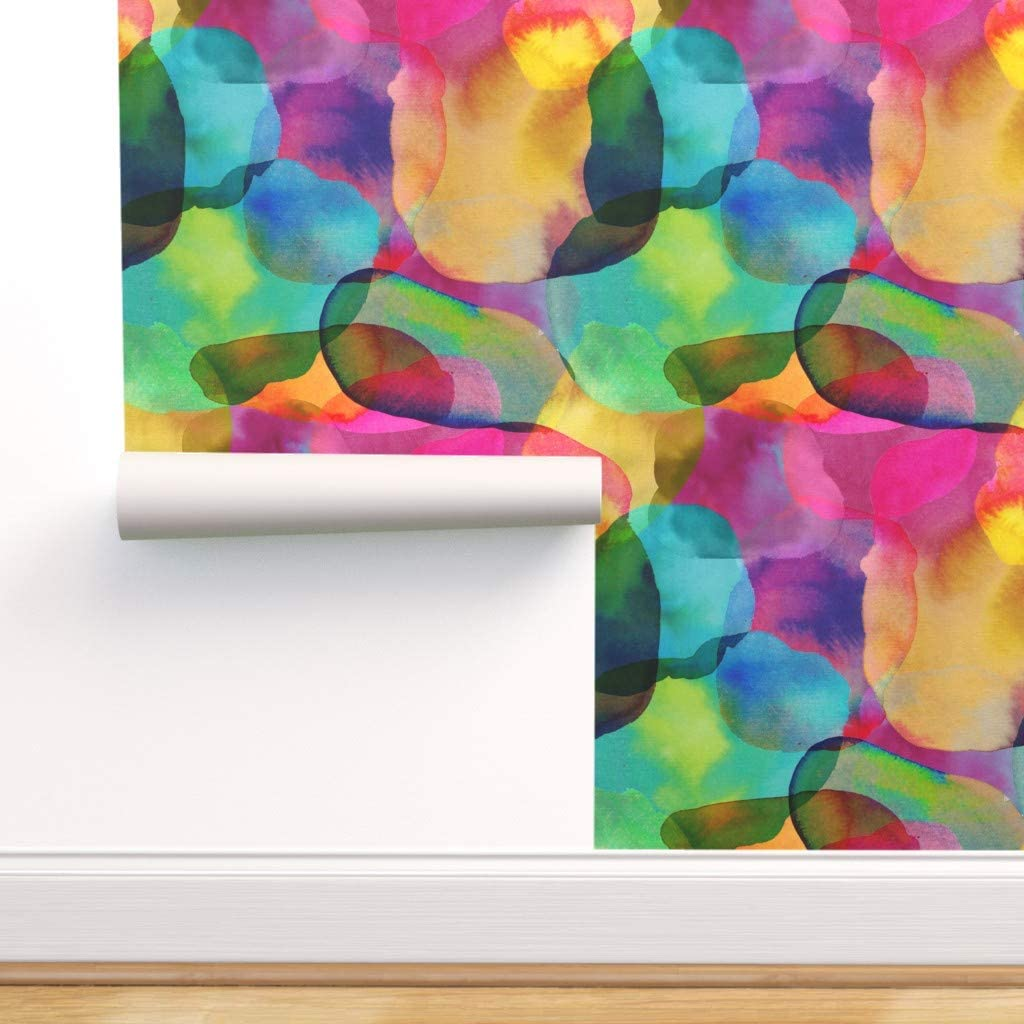 Spoonflower Peel and Stick Removable Wallpaper, Watercolor Abstract Paint Drops Colorful Therapeutic Rainbow Multicolour Daydream Colourful Print, Self-Adhesive Wallpaper 24in x 144in Roll
