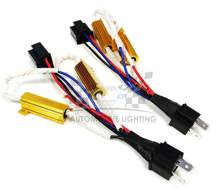 O-NEX LED Resistor Kit H4 (9003 HB2) HID Relay Harness Adapter Anti Flicker Error Decoder Warning Canceller