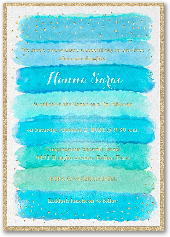725pk Bright Watercolor - Invitation with Backer - Aqua-Bar & Bat Mitzvah Invitations