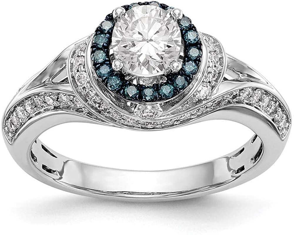14KW Round Blue & White Diamond Semi-Mount Halo Engagement Ring Size 7 Length Width