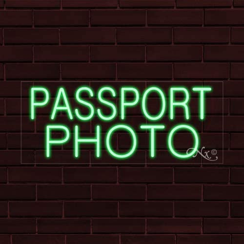 32x13x1 in. Passport Photo Flashing LED Flex Window Sign Includes Inline Remote Control