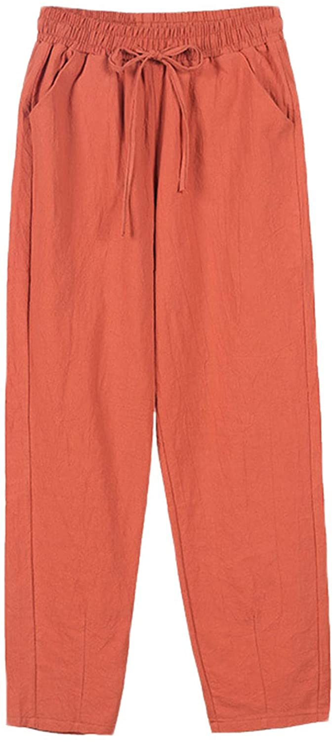 Andongnywell Womens Casual Pants, Linen Pants, Drawstring Elastic Waist Thin Section Solid Color Trousers
