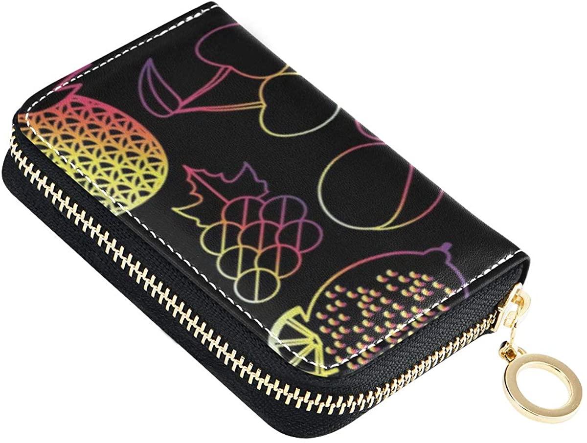 Credit Card Wallet Watermelon Pomegranate Cherry Zipper Card Holder