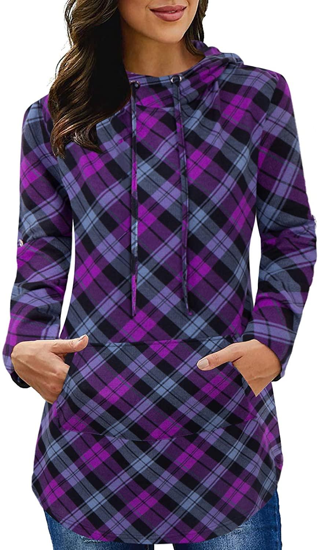Siddhe Womens Tunic Tops Casual Plaid Long Sleeve Pocket Hoodie Shirt Sweatshirt