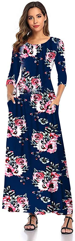 SHELY Women's Floral Print Maxi Dresses 3/4 Sleeve Casual Long Dress
