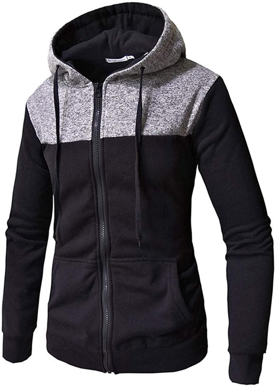 Soluo Men's Casual Color Block Hoodie Sport Jogging Sweater Hooded Sweatshirt Outwear with Kanga Pocket