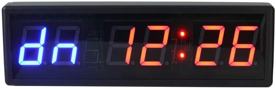 Digital Kitchen Timer Internal Training Timer Gym Boxing Stopwatch LED Digital Wall Clock with Control Multifunction Counter (Color : Black, Size : 38.6X12X3.5CM)