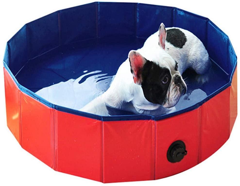 WLGQ Folding pet Pool Swimming Pool Dog cat Bathing Pool Paddling Pool Bath pet Bath tub16030CM(63 12inch),Red,S