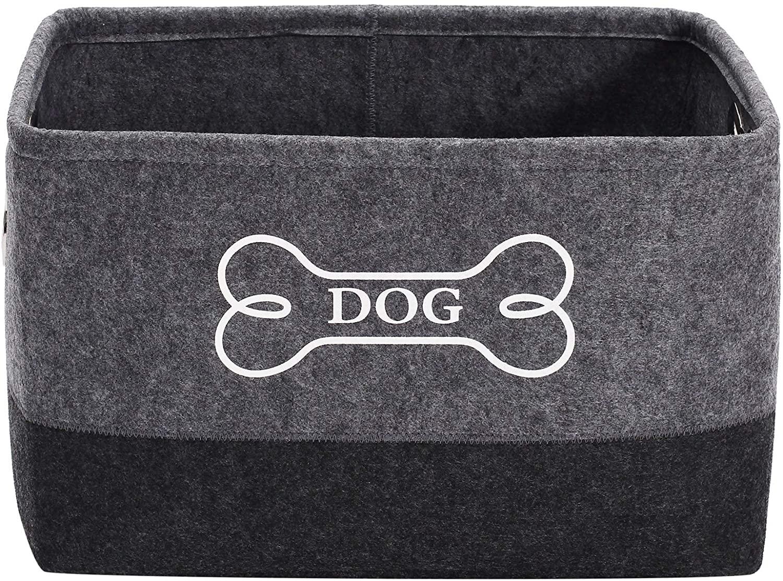 Xbopetda Felt Dog Toys Storage Bins,Dog Toy Box Large Designed Metal Bone-shaped Handles for Nursery Shelf -Gray/Dark Gray