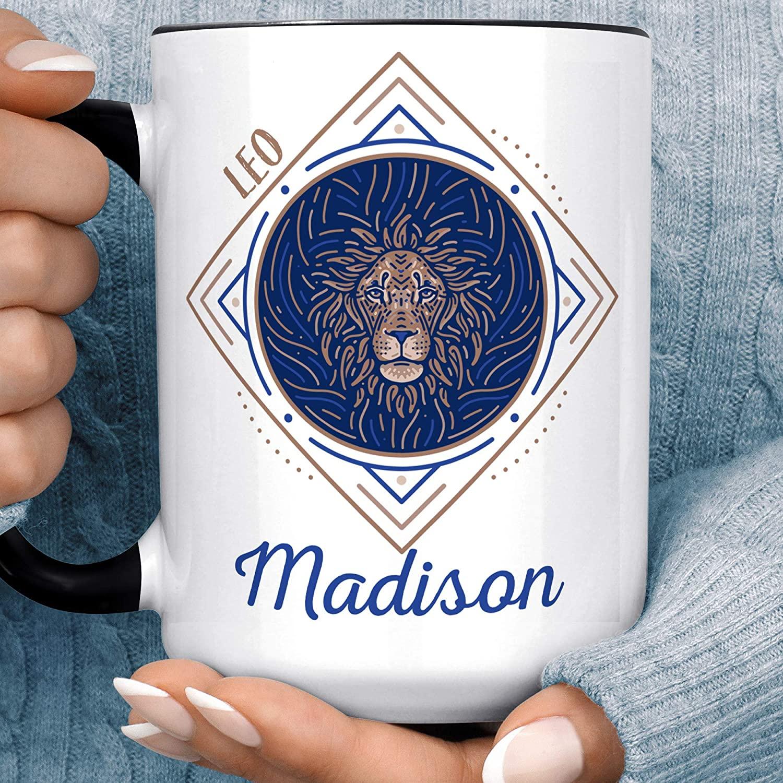 Leo Personalized Zodiac Sign Coffee Mug | Custom Horoscope Ceramic Cup | Microwave Dishwasher Safe