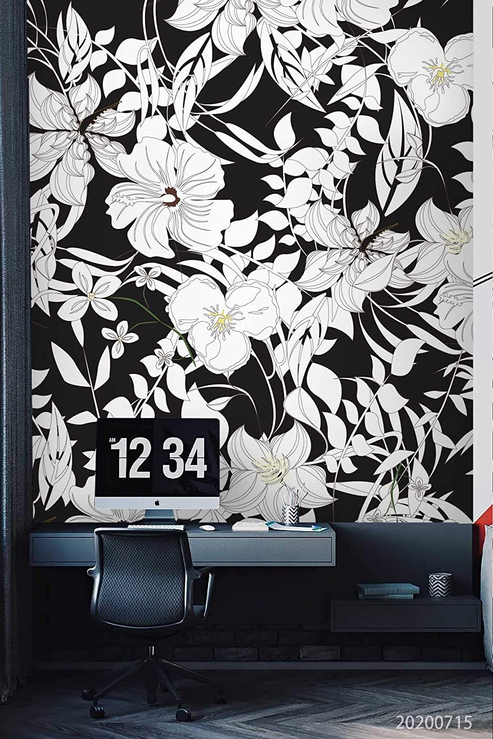3D White Floral Wallpaper Wall Mural | Self Adhesive Removable Wallpaper Feature Wall Deco Photo Mural YQ 68 (Premium Non-Woven Paper(Non- Pasted), 82