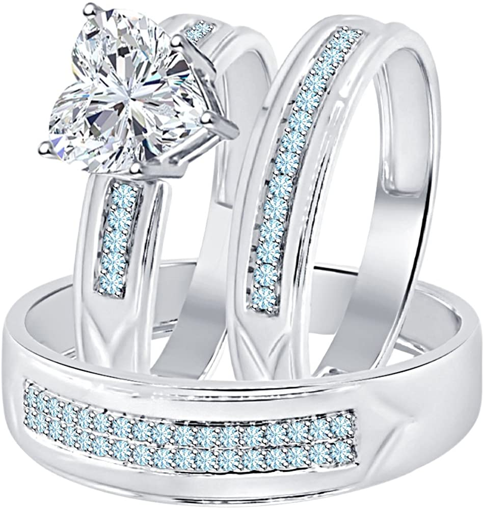 Gold & Diamonds Jewellery Heart Shaped 2.80 cttw White CZ Diamond & Aquamarine 14k White Gold Plated Engagement Ring Trio Bridal Set for Him & Her