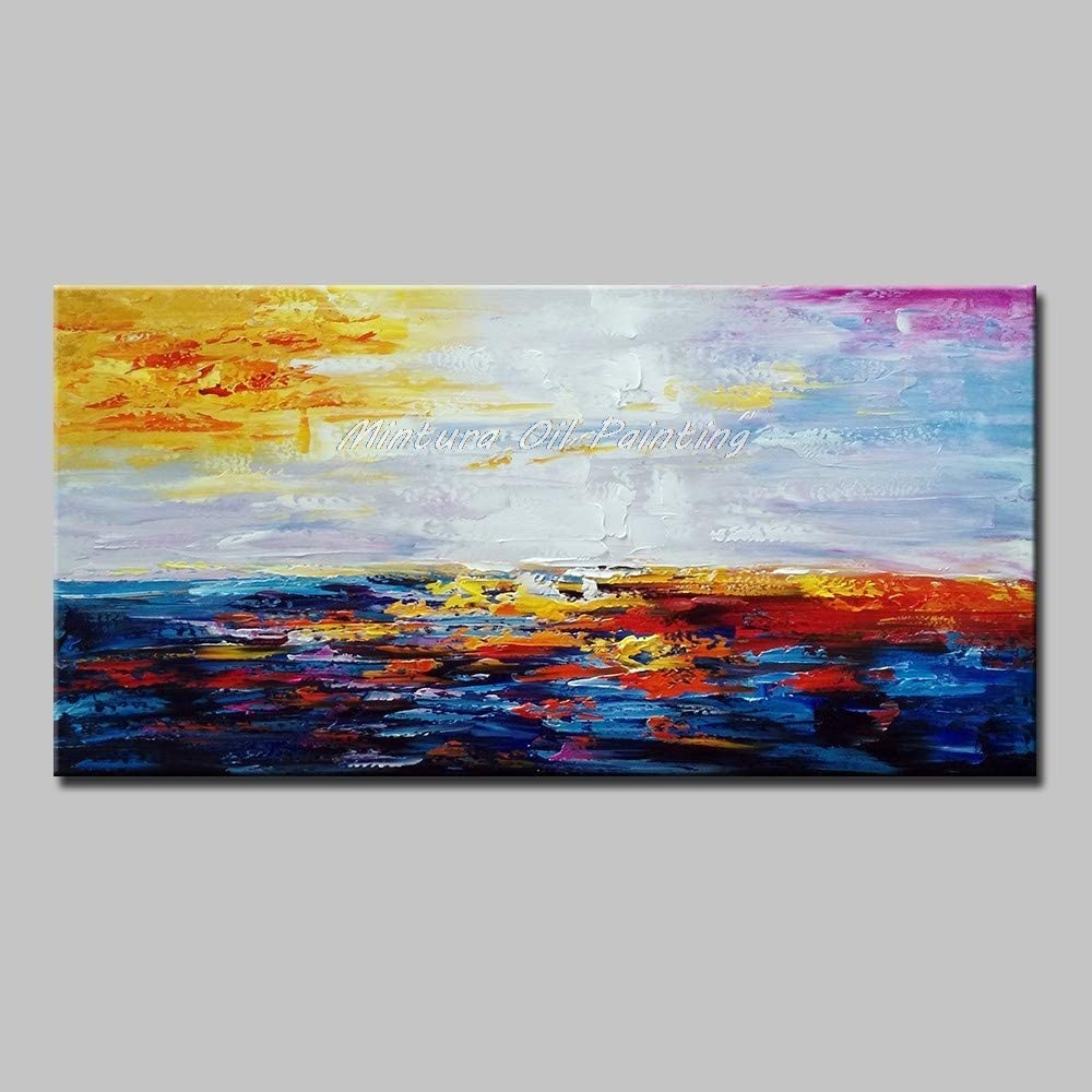 Hand Painted Oil Painting On Canvas 100% Hand Painted,Natural Scenery,Blue Waves Under Yellow Sky,Modern Abstract Palette Knife Oil Painting On Canvas Wall Art Picture For Living Room Home Decoration,