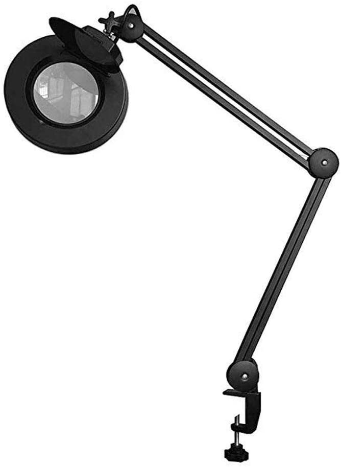 5X Magnifying Glass Lamp - Daylight Bright Lighted Lens - Magnifying Desk Lamp Rotate Magnifier Swing Arm Desktop Tabletop Lamp, for Table, Task, Craft, Jewelry,Sewing,workben