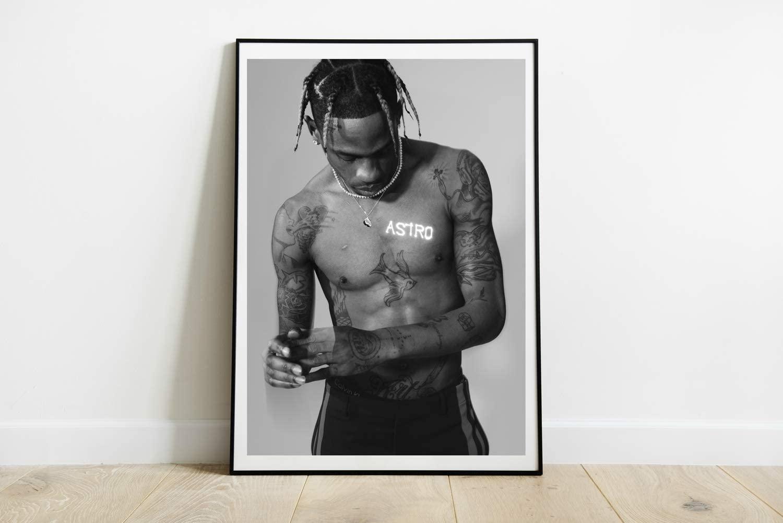 Travis Scott Poster Rap Singer Kylie Jenner Poster Goosebumps Song Hip Hop Art Print Gift Poster Unframed Print Canvas Size - 11