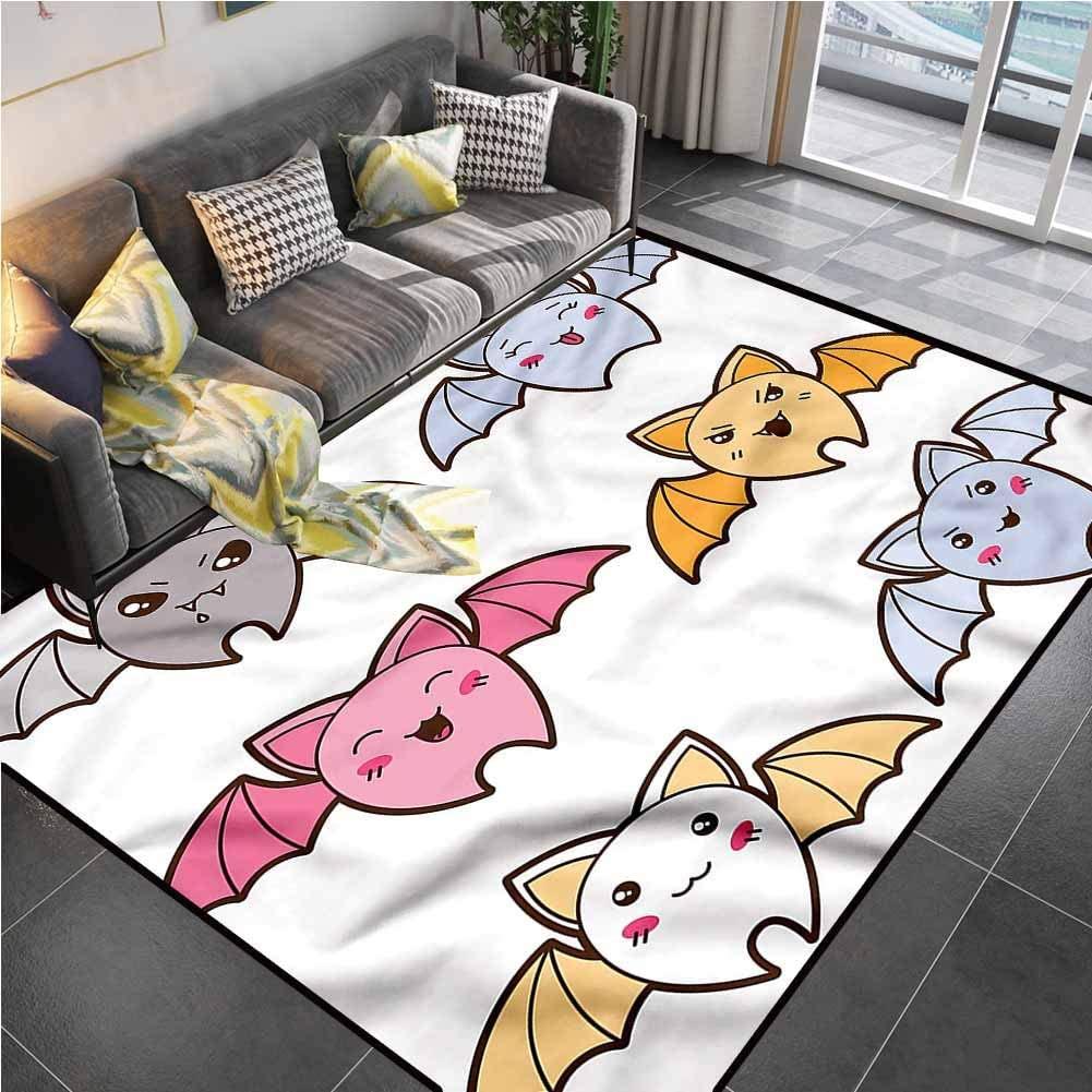 Area Rug Print Large Rug Mat Kawaii,Cartoon Bats Angry Happy entryway Rug for Living Room Bedroom Playing Room 6'6