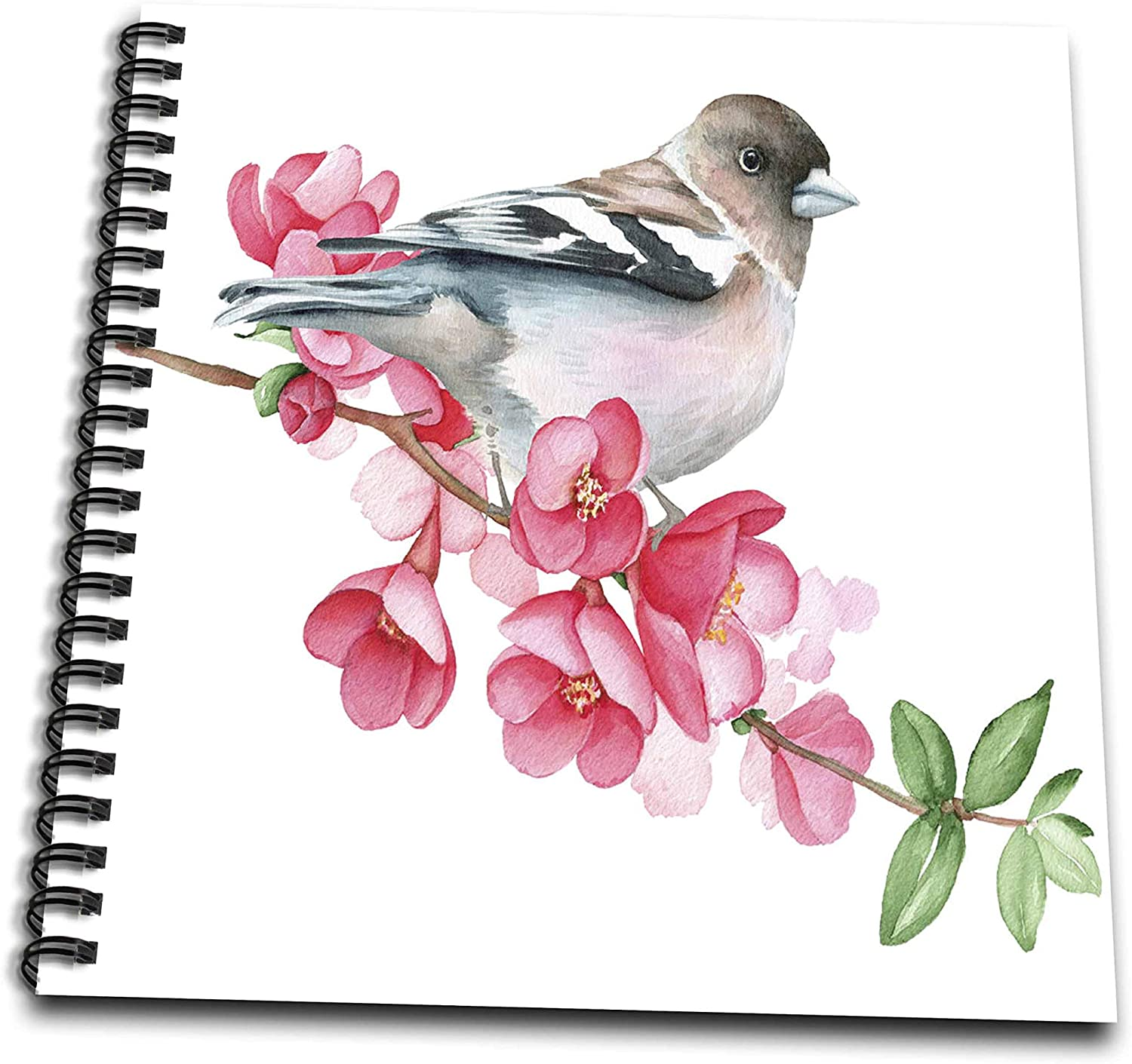 3dRose Pretty Image Of Watercolor Bird On Cherry Blossoms - Drawing Books (db_327248_1)