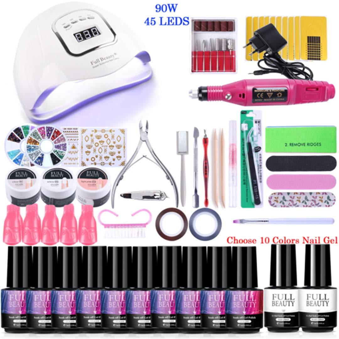 Nail Set For Manicure Kit UV Led Lamp With Electric Drill Machine Nail Gel Polish Varnish Pedicure Nail Extension Tools TR1581 Set04-FB5X-10-RD