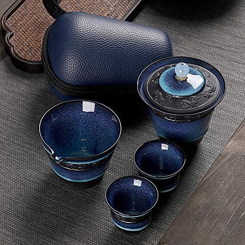 Coffee Set 6 in 1 Temmoku Portable Travel Kung Fu Teaware Tea Cup Set Teapot Tea Set