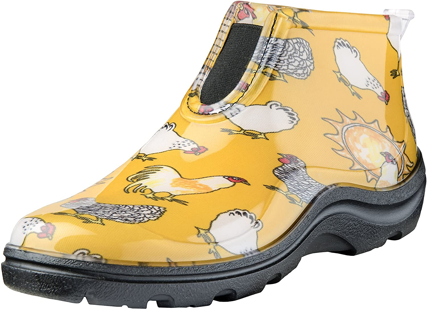 Sloggers Womens Waterproof Rain and Garden Ankle Boot with Comfort Insole, Chickens Daffodil Yellow, Size 8, Style 2841CDY08