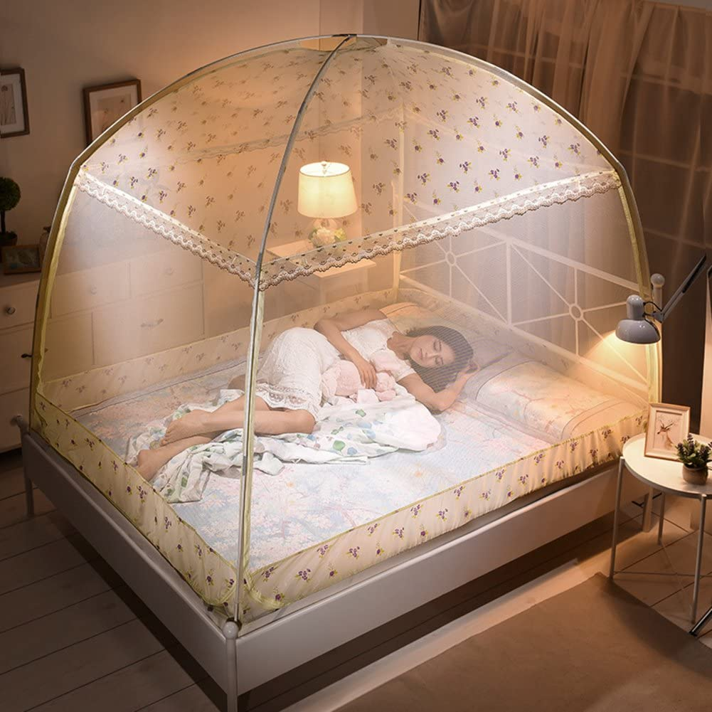 Printed mosquito net,Yurt nets Double bottomed Three-door bracket Home 1.2 m bed linen dormitories netting curtains Round fly screen insect protection repellent shield for home & travel-B King