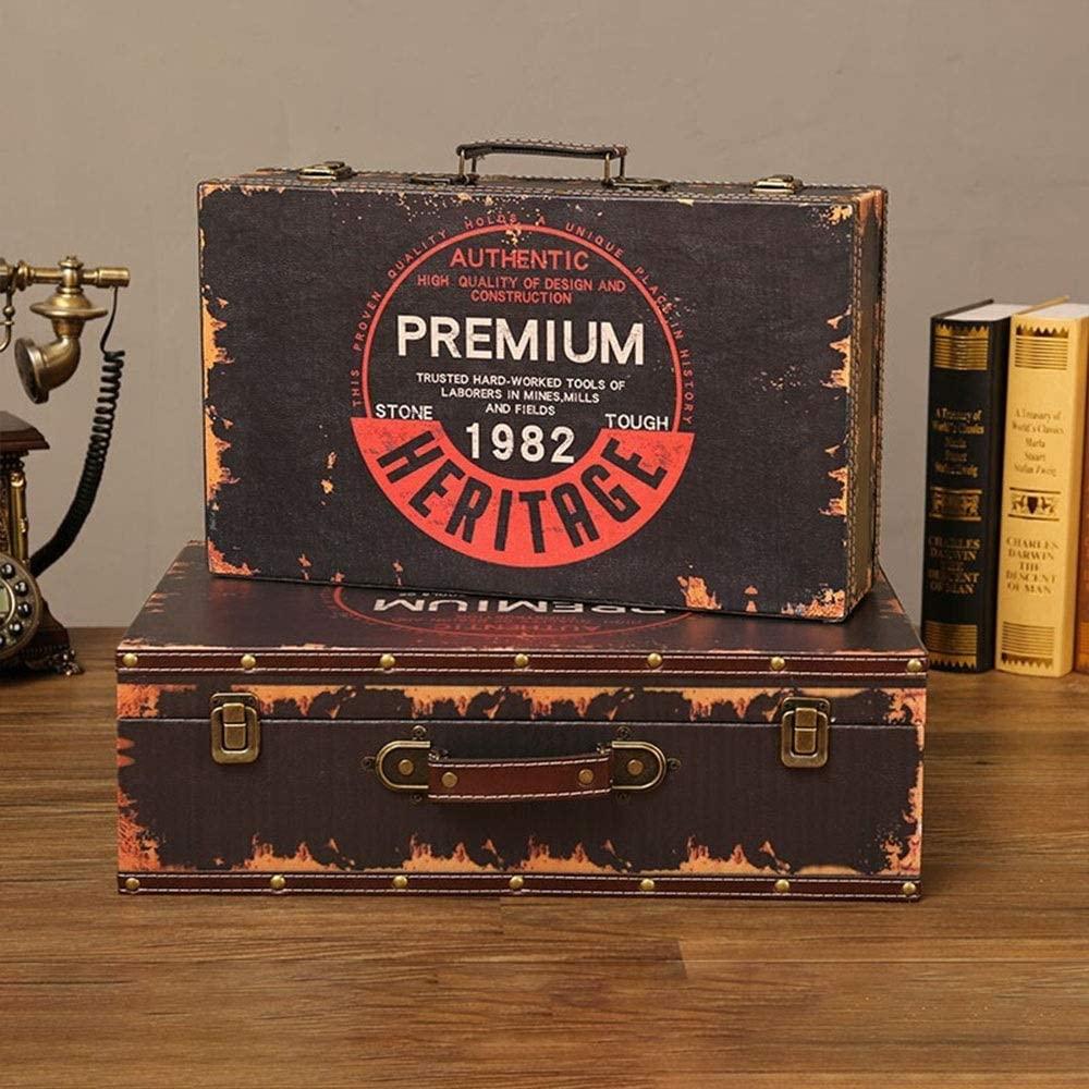 YADSHENG Suitcase Box Vintage Large Travel Suitcase Retro Travel Suitcase Leather Home Decor Parties Wedding Decorative Boxes (Color : Brown, Size : 48.5×29×14.5cm)